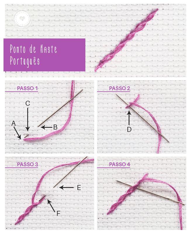 Ponto de Haste e Ponto de Haste Português   Bordados de Coração