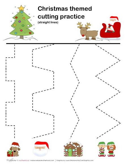 Christmas cutting practice printable from Makeovers and Motherhood