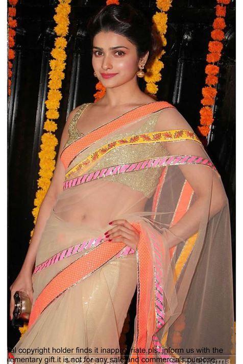 Beautiful Prachi Desai Beige Bollywood Replica Saree.