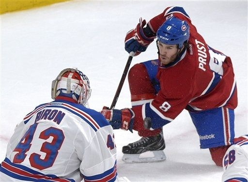 The Canadiens' Brandon Prust on the Rangers' Martin Biron  2-23-13