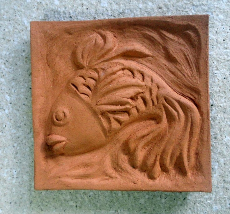 Dancing Fish - handsculpted red clay tile