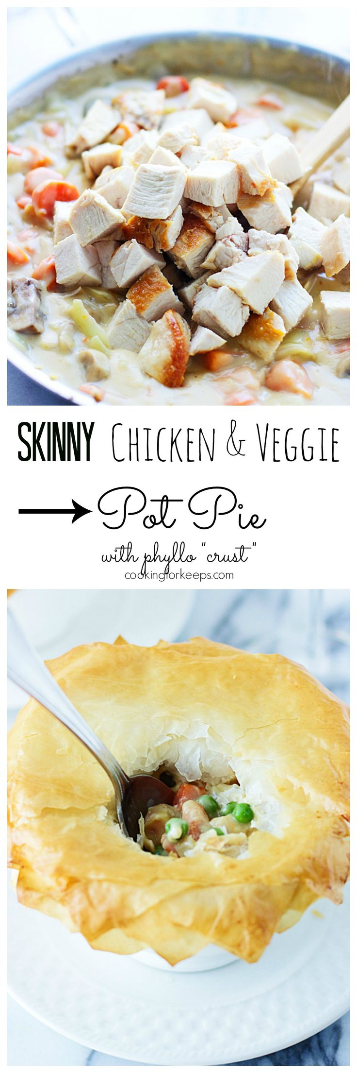 """Skinny Chicken and Vegetable Pot Pie with Phyllo """"Crust"""" 