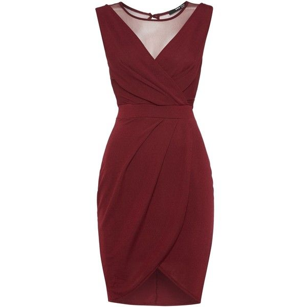 tfnc Sleeveless v neck mesh back dress (5.783 KWD) ❤ liked on Polyvore featuring dresses, vestidos, short dresses, burgundy, clearance, red mini dress, sleeveless shift dress, burgundy cocktail dress and shift dress