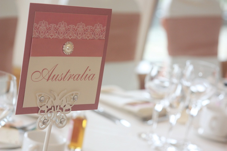 Dusky Pink & Ivory Table Numbers from our 'Purlesque' range of Wedding Stationery & Accessories.