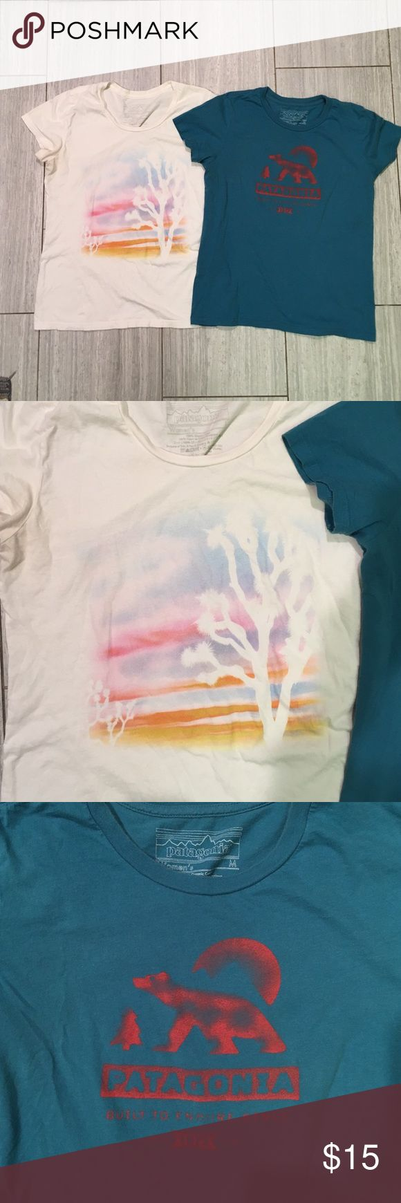 Patagonia Women's Tees (2) Patagonia Tees! Cream Desert graphic is a large and real bear graphic is a medium. Both rarely worn. Comfy! Patagonia Tops Tees - Short Sleeve