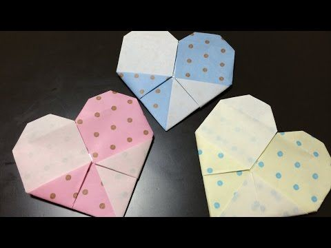おりがみ=2しょくハート=おってみた!2色ハートの折り方 Japanese Traditional Origami =Two color heart= 2014 Vol.142 - YouTube