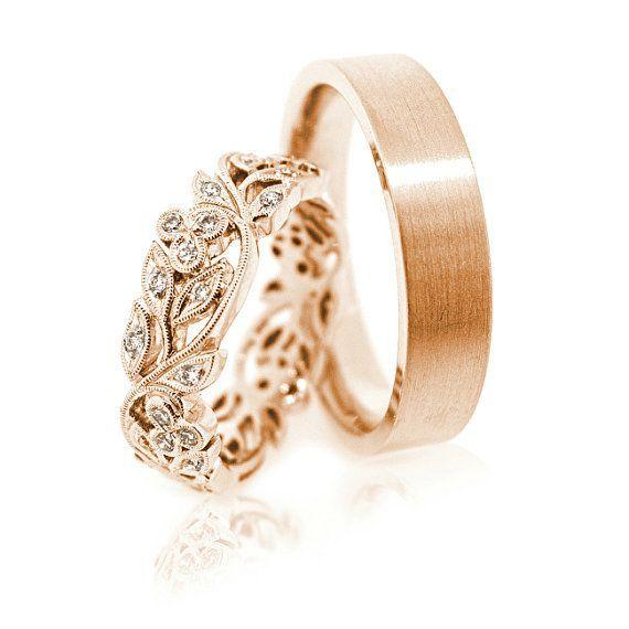 14k Gold wedding bands. Gold wedding bands.Unique wedding bands.Matching wedding…