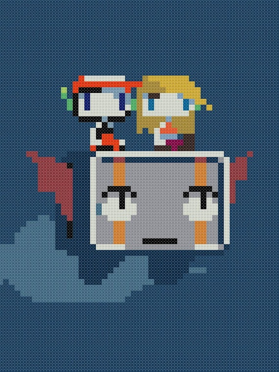 Cave Story - Quote, Curly and Balrog Cross Stitch Pattern. $6.00, via Etsy.