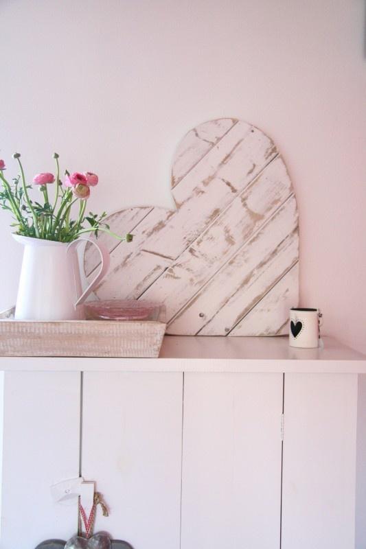 Hart steigerhout groot wit