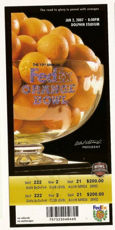 2007 Orange Bowl Game Full Ticket Louisville Wake Forest.....if you like this you can find many more college bowl game tickets for sale at.....www.everythingcollectibles.biz