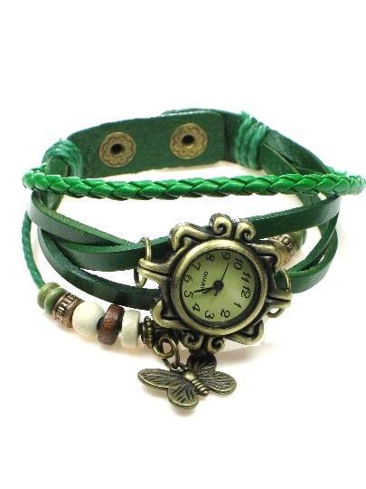 €8,95 Groene armband met kralen en horloge