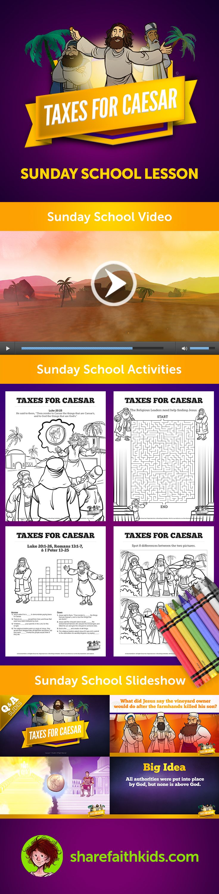 Luke 20 Taxes For Caesar Kids Bible Story: Taxes for Caesar (Luke 20) This powerful Sunday School lesson is drawn from Luke 20, where Jesus delivers a timeless lesson about authority. Teach your children the importance of showing respect to parents, teachers, leaders and, most of all, God!