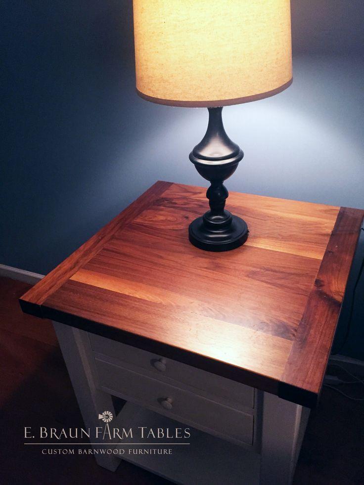 New Black Walnut Top On Reclaimed Barn Wood Night Stand   We Make Custom  Furniture Using