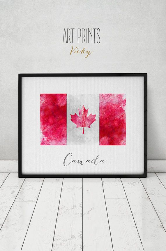 Canada flag print art poster watercolor Wall art by ArtPrintsVicky