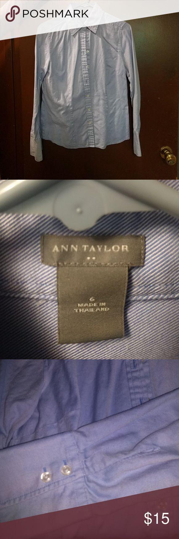 Button down Blue diagonal stripe pattern. Darts at bust line. 100% cotton Ann Taylor Tops Button Down Shirts