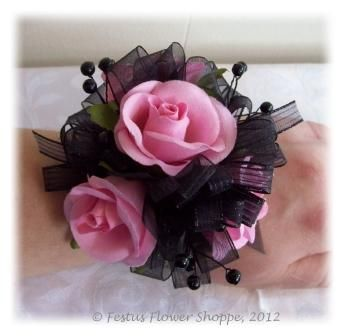 wrist corsage for homecoming for black dress   Pretty in Pink Wrist Corsage