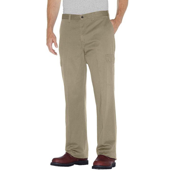 Dickies Men's Loose Straight Fit Cotton Cargo Work Pant- Khaki (Green) 34x30