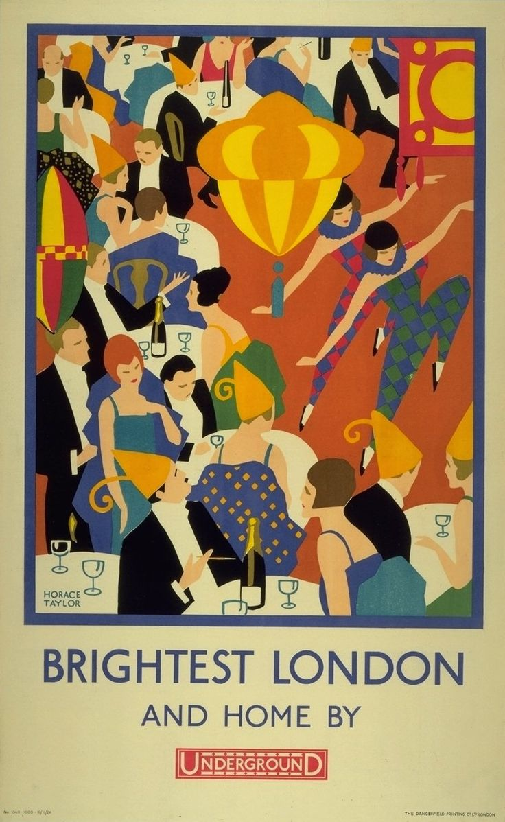 Brightest London and Home by Horace Taylor 1924. View this and other vintage illustrated posters at The Transported by Design festival, on next month in London.