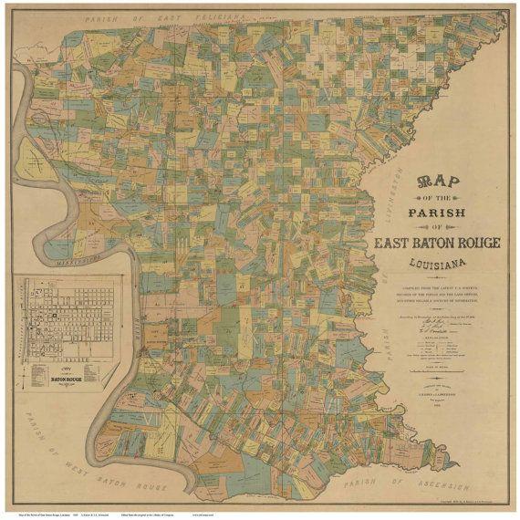 East Baton Rouge Parish  Louisiana 1895 -  Wall Map with Landowner Names Farm…