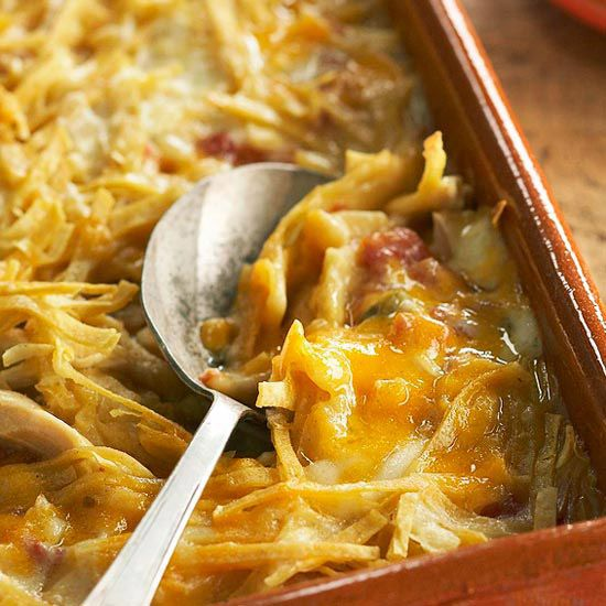 Get a fork ready, you won't be able to resist our cheesy Mexican-inspired Chicken Tortilla Bake. The best part is, it's under 300 calories per serving. More healthy ideas: http://www.bhg.com/recipes/healthy/dinner/quick-easy-5-ingredient-recipes/ #myplate