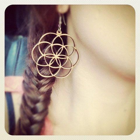 Wood Flower of Life Earrings by WoodWearbyandrea on Etsy, $10.00