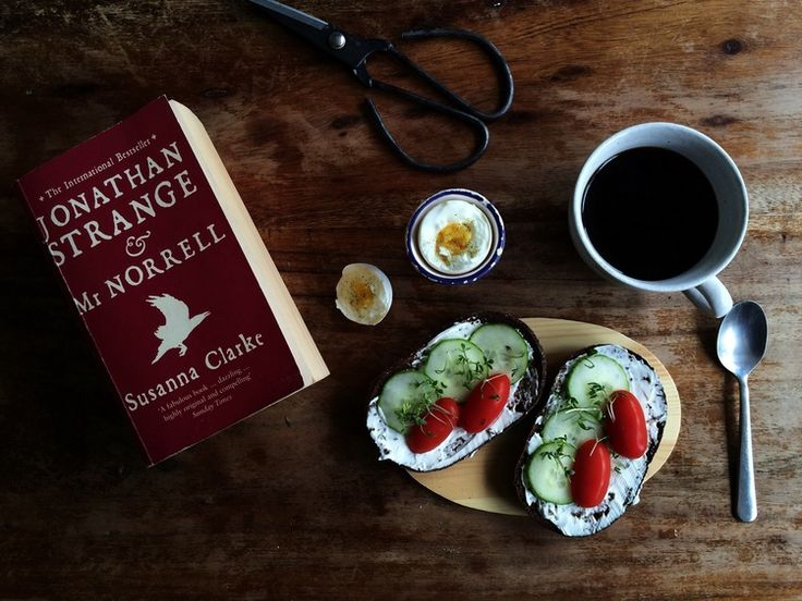Kitchen.  I like these little wooden boards to use as breakfast plates. I bought them at a farmers market.  #kitchen #breakfast #wood #egg #coffee #scissors #vintage #jonathanstrangeandmrnorrell #susannaclarke #book #literature