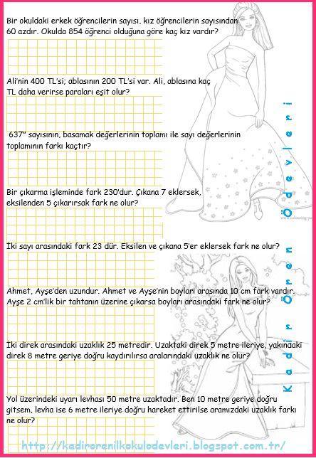 ilkokul ödevleri: 3. sınıf çıkarma işlemi problemleri 3