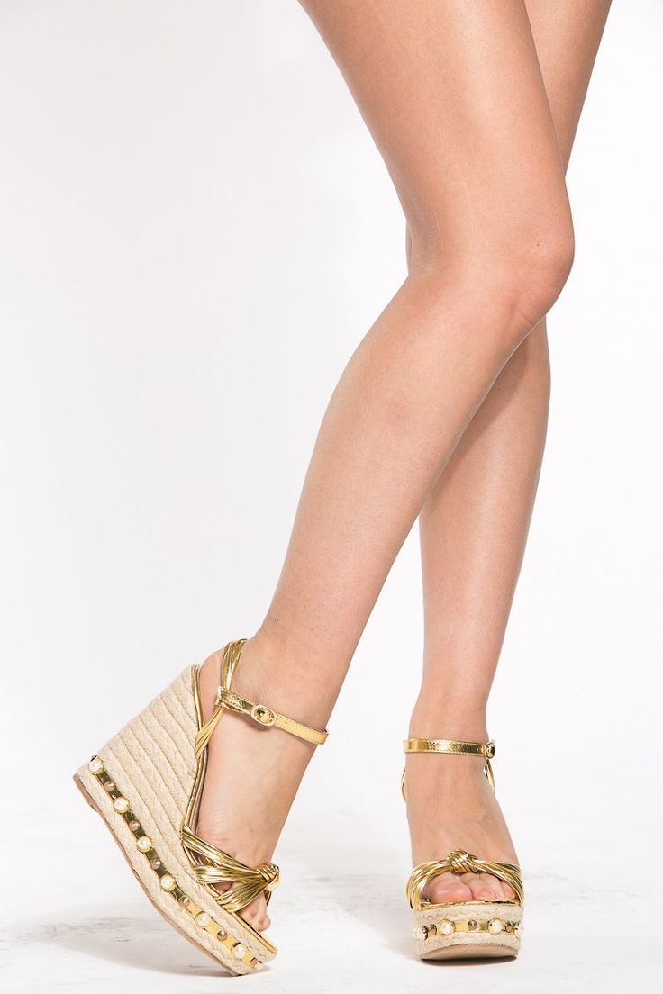 Gold Faux Leather Espadrille Wedges @ Cicihot Wedges Shoes Store:Wedge Shoes,Wedge Boots,Wedge Heels,Wedge Sandals,Dress Shoes,Summer Shoes,Spring Shoes,Prom Shoes,Women's Wedge Shoes,Wedge Platforms Shoes,floral wedges