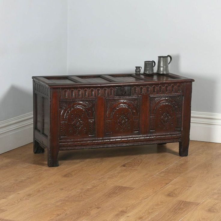 Antique English Charles I East Anglia Oak Joined Coffer Chest / Coffer (Circa 1640)