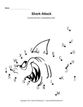 Shark Connect Dots Alphabet   Shark activities, Tracing ...