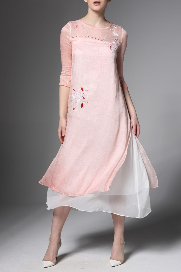 Pink Layered Floral Embroidered Slit Dress   Midi Dresses at DEZZAL