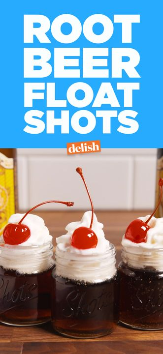 These Root Beer Float Shots will make you so glad you're over 21. Get the recipe from Delish.com.