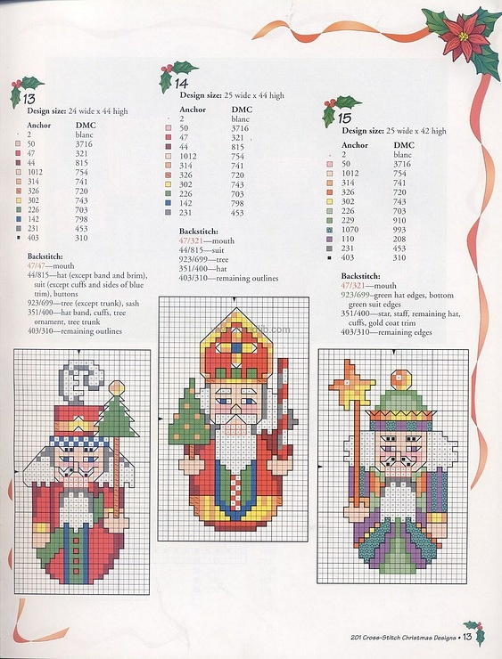 Christmas Nutcracker candles Saint Nicholas Santa cross stitch