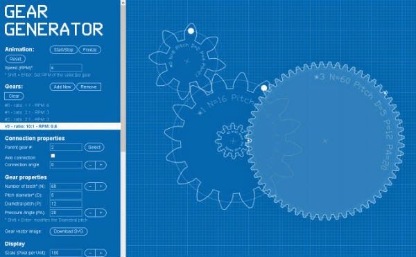 The Automata Blog: Gear generator tool allows you to design full gear trains and see them in action!