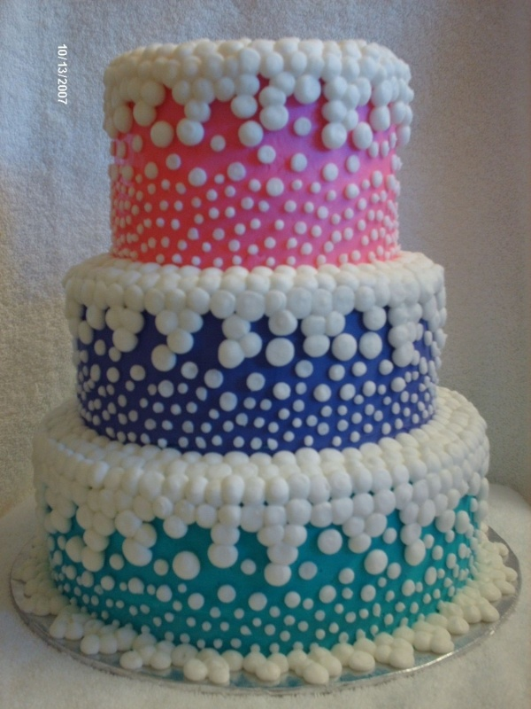 This is a white and chocolate cake, with BC icing, pink, purple & teal.  Bubbles are BC icing also - by Bourgonsgirl