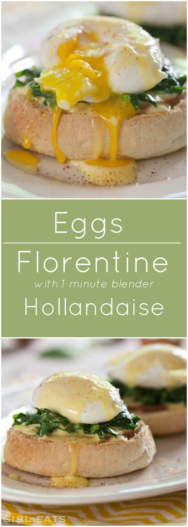 Eggs Florentine with 1 minute blender Hollandaise.