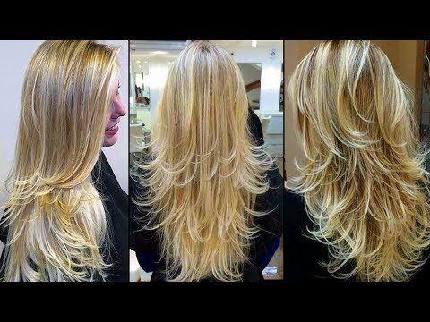 Corte de pelo con capas en la parte frontal   Corte de pelo medio largo - YouTube