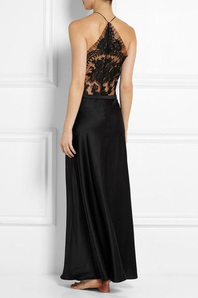 Black silk-blend satin, Leavers lace  Button fastenings along side 85% silk, 10% cotton, 5% nylon Dry clean Small to size. See Size & Fit tab.