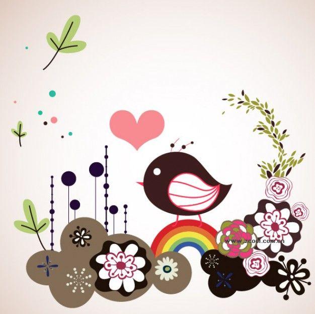 linda flores pássaro de material vetor ilustrador