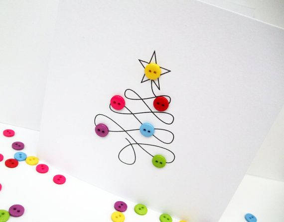 Christmas Card - Christmas Tree with Button Baubles - Paper Handmade Greeting Card - Holiday Card - Etsy UK