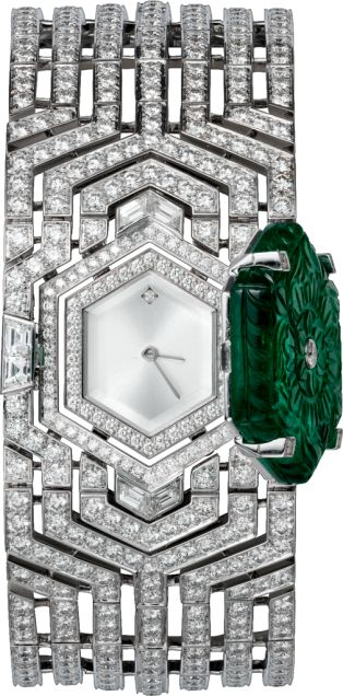 Cartier-High Jewelry. 18K rhodiumized white gold case and bracelet set with an engraved emerald of 30.47 carats, 8 baguette-cut diamonds totaling 1.44 carats and 537 brilliant-cut diamonds totaling 20 carats, dial with translucent lacquered silvered sunray effect, a brilliant-cut diamond hour marker of 0.01 carats at 12 o'clock, rhodiumized steel sword-shaped hands, water-resistant to 30 meters/100 feet, unique piece.