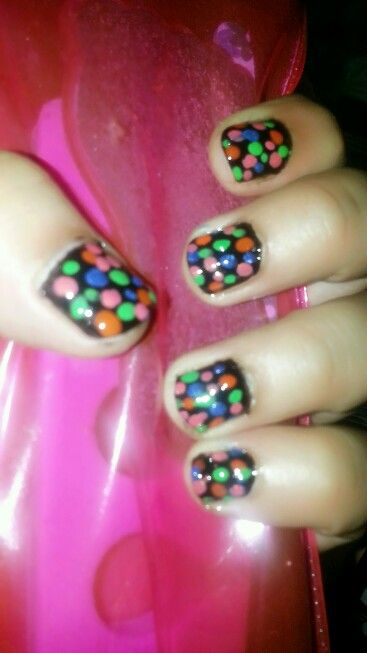 Dotted multi coloured nails