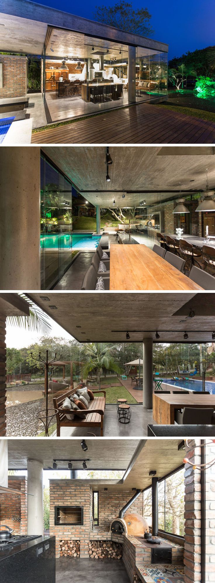 This pool house is a concrete, brick and glass room with a kitchen, dining area, sitting area and a wood-fire oven. The glass walls retract to open the space up to the pool deck.