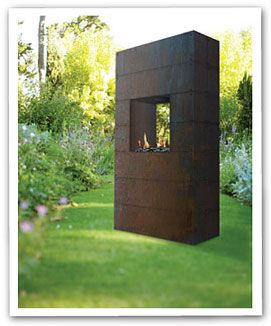 A modern chiminea. I love this one! Perfect for the courtyard..