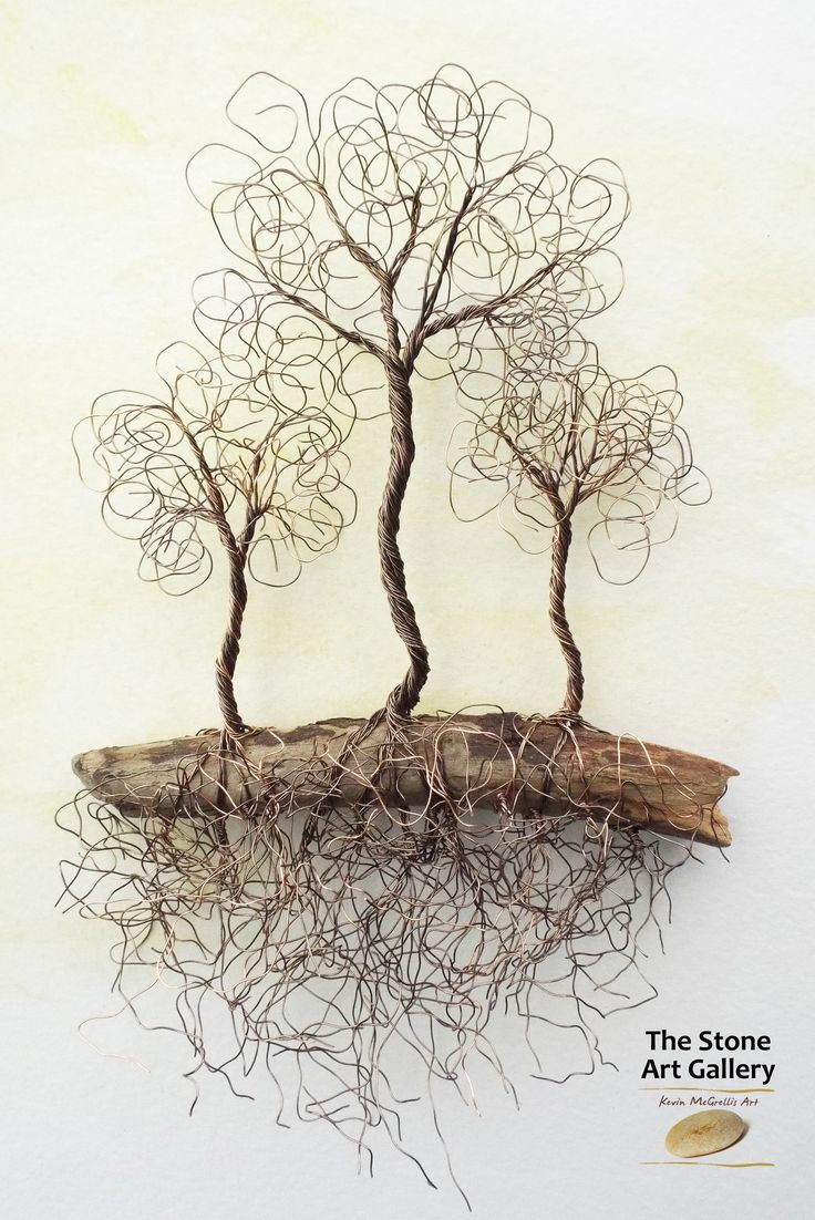 Wire Art: 'Three Trees' - Copper Wire on driftwood. Facebook: The Stone Art Gallery www.thestoneartgallery.com