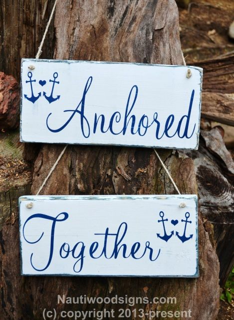 Beach Wedding Wooden Sign, Chair Hangers, Anchored Together Nautical Anchor Wedding Decor, Outdoor Wedding, Navy Blue White Wedding Rustic Wood Sign, Hand Painted, Photo Props, Reception Decor, Personalized Wooden Wedding Decor, Lake Sea Side Ideas (Outdoor Wood Wedding)
