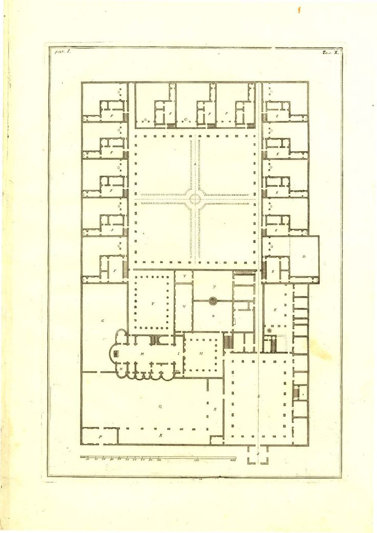 A 1760 copper engraving of the floor plan the Certosa by Andrea Palladio.
