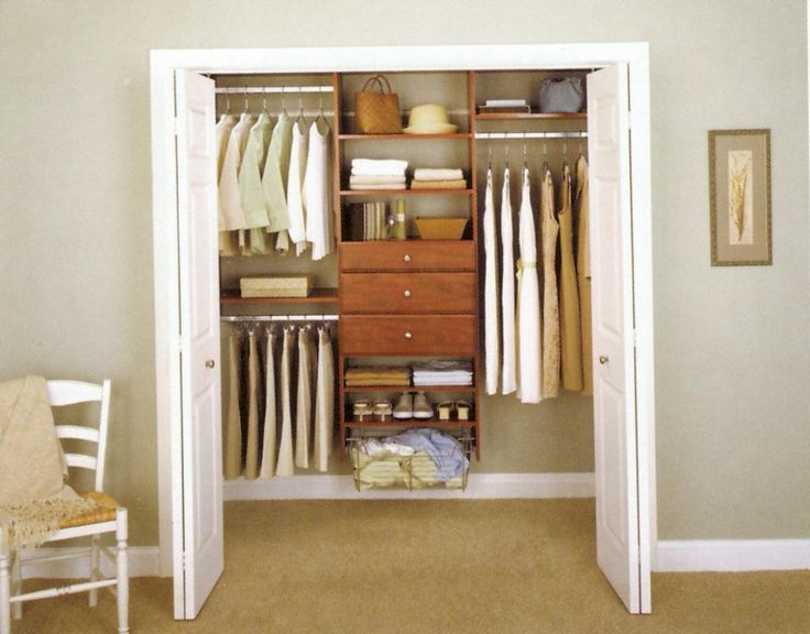 Bedroom Closet Design Ideas With Small Walk In Closet Design Overlooking  Brown Wooden Shelves Cabinet Chair And Lateral Door