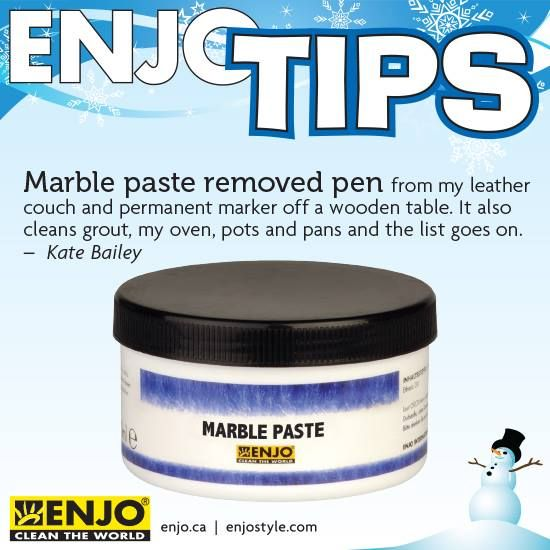 ENJO Marble Paste removes pen and marker.