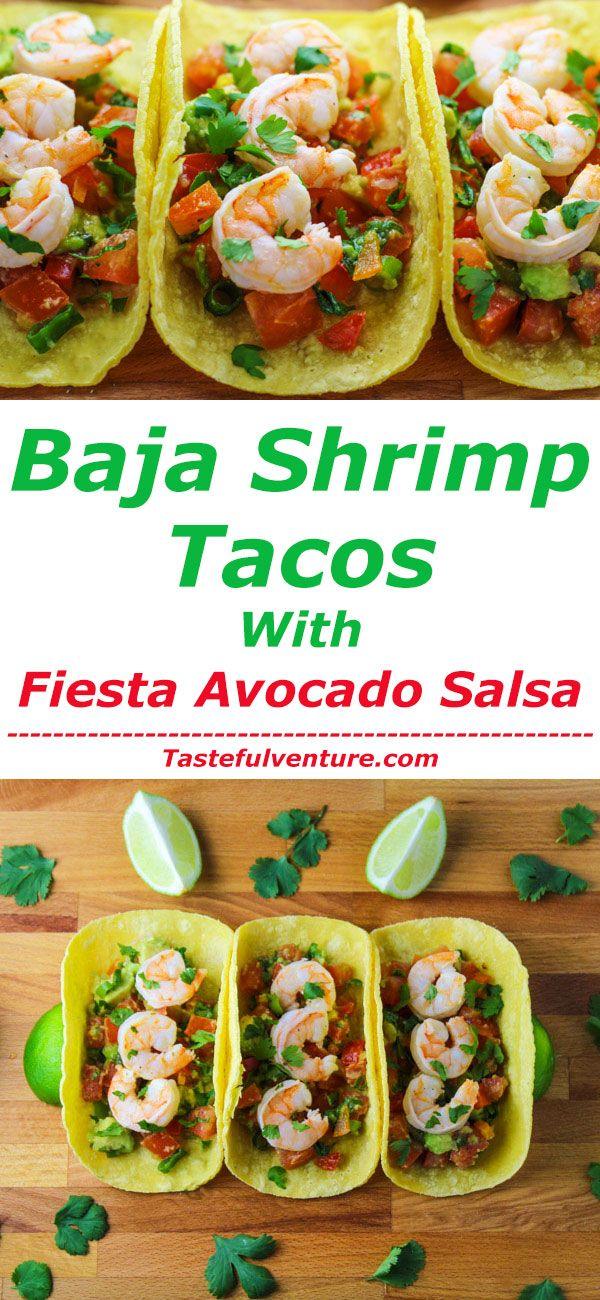 These Baja Shrimp Tacos with Fiesta Avocado Salsa are so delicious, perfect for Taco Tuesday! | Tastefulventure.com